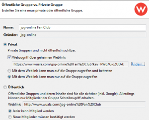 Wuala Screenshot 3 (Gruppe anlegen)